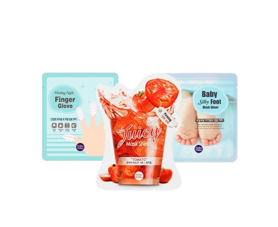 "Комплект масок ""Nails Finger Glove + Juicy Mask Sheet Tomato + Baby Silky Foot"""